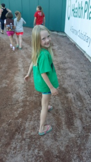 Walking around the bases with the Girl Scouts