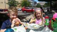 Eating lunch downtown